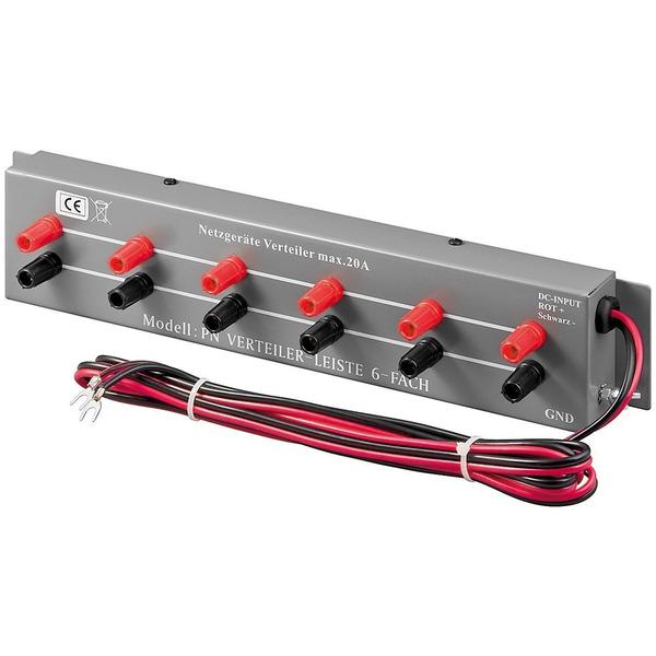 Goobay Verteilerleiste für Labornetzgeräte, 6-fach, max. 20 A, 13,8 V (AC)