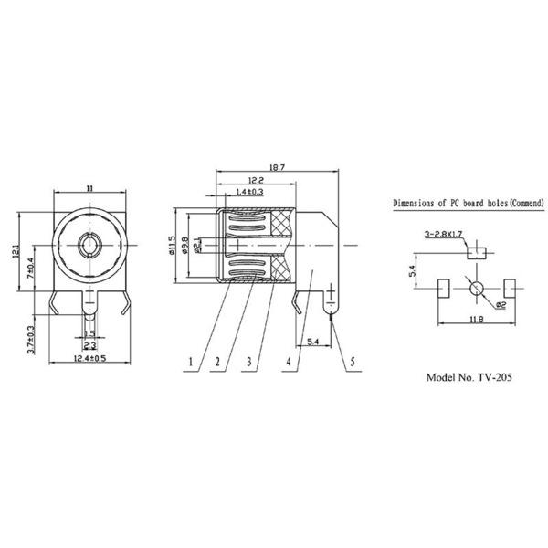 ELV Koaxial Buchse (IEC) Winkelprint