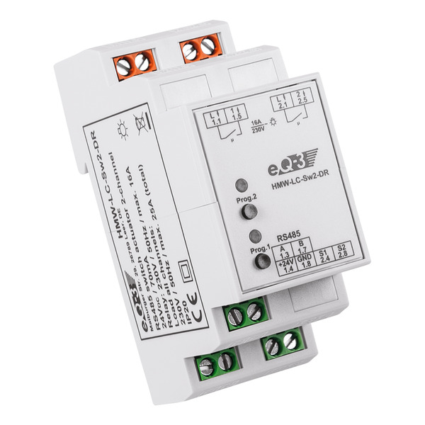 Homematic Wired RS485-Schaltaktor 2fach HMW-LC-SW2-DR für Smart Home / Hausautomation