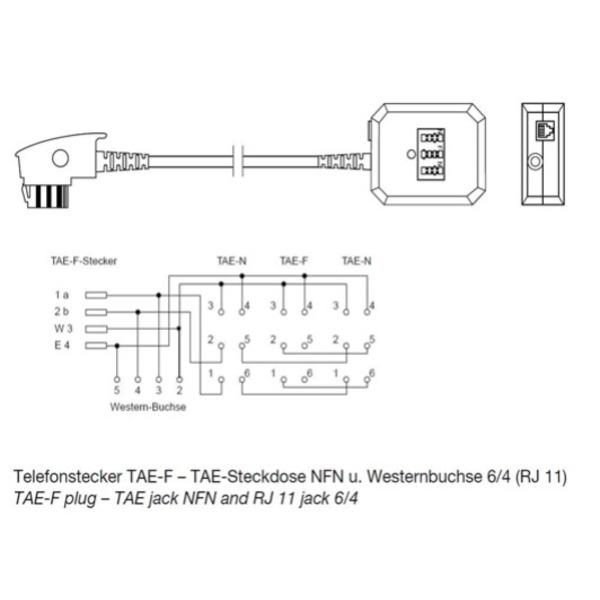 TAE-Adapter NFN: Mit Anschlusskabel 20 cm