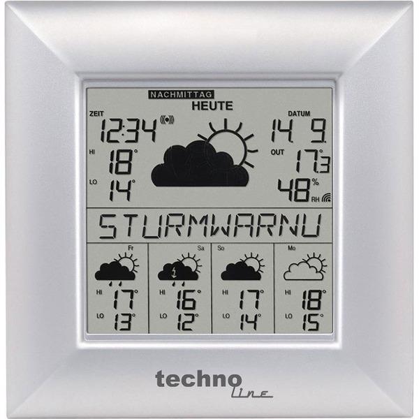technoline WETTERdirekt Funk-Wetter-Daten-Station WD 9000, silber