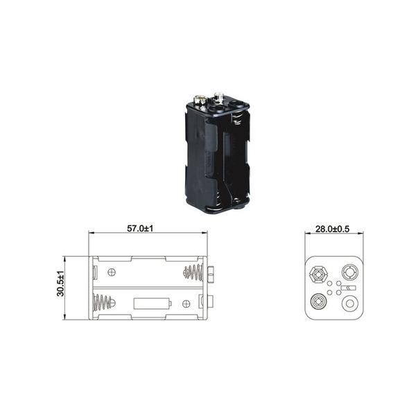 Batteriehalter für 4 x Mignon Batterie mit Druckknopf-Anschluss