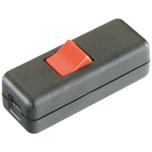 Schnur-Zwischenschalter, 230V, 10A, Aussschalter, 2-polig, schwarz/rot