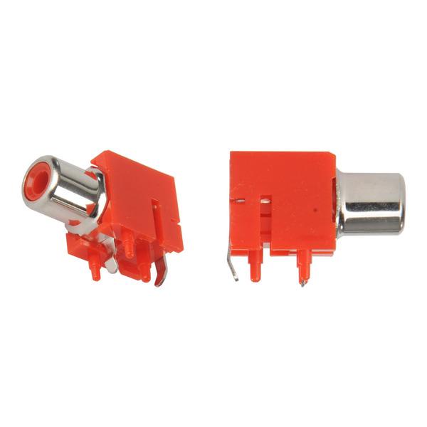Cinch-Buchse, 1-polig, liegend, winkelprint, rot