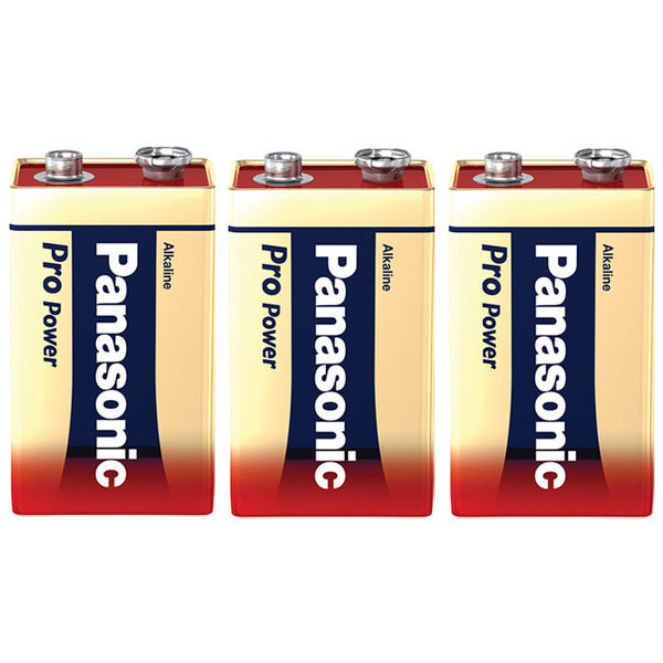 Panasonic Pro Power Alkaline Batterie, 9-V-Block, 3er Pack