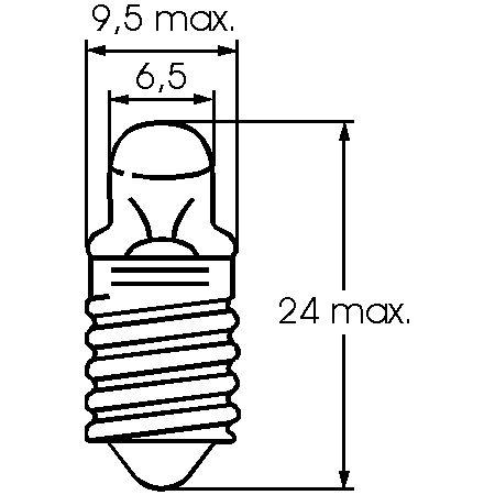 Barthelme Taschenlampen-Leuchtmittel Sockel E10, Spitzlinse, 9,5 x 24 mm, 2,2 V