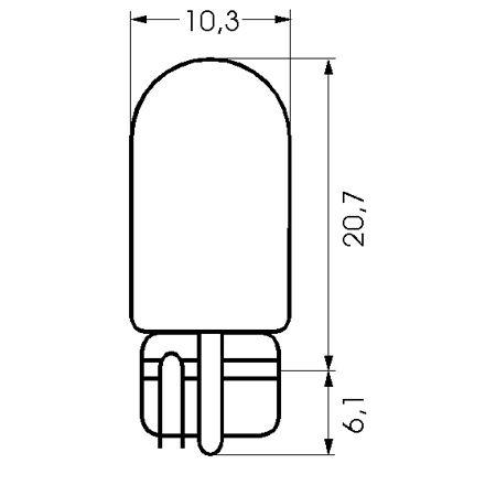 Barthelme Glassockellampe Sockel T10 W2,1x9,5d, 10,3 x 26,8 mm, 12-15 V