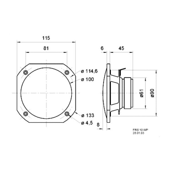 VISATON wetterfester Breitbandlautsprecher 10cm, FRS 10 WP, weiß /8 Ohm
