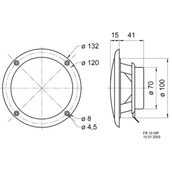 VISATON wasserfester Breitbandlautsprecher 10cm, FR 10 WP, schwarz / 4 Ohm