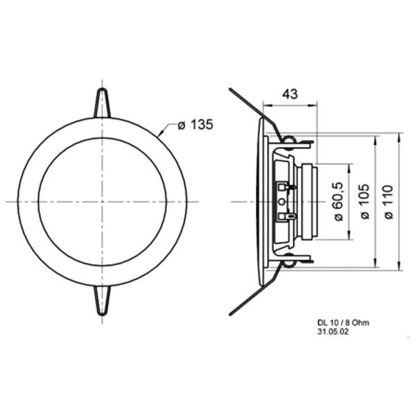 VISATON Deckenlautsprecher 10cm, DL 10 / 8 Ohm