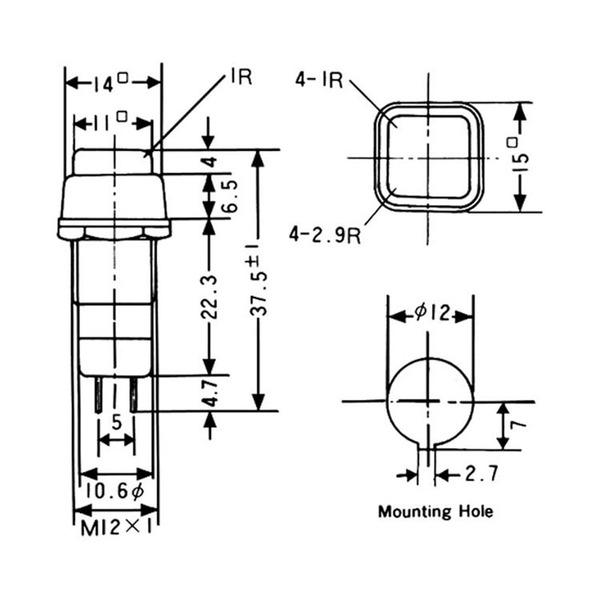 Drucktaster löt 3 A 125 V AC, schwarz