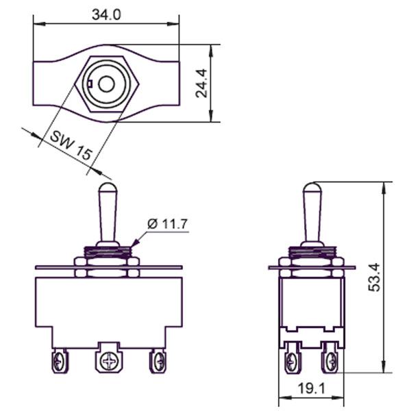 Kippschalter 2-pol, 10A 125 V AC
