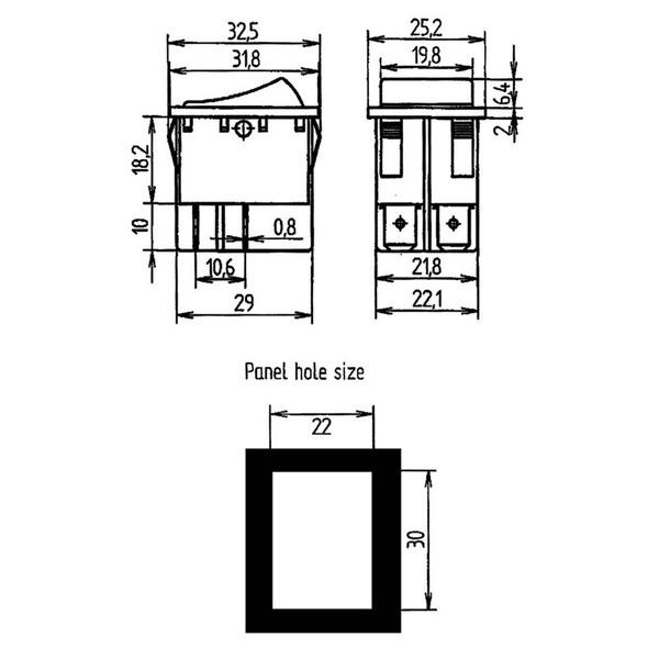 Wippschalter 2-pol, 16 A, rot
