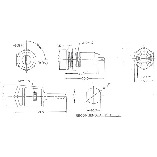 Schlüsselschalter 1A 125 V AC