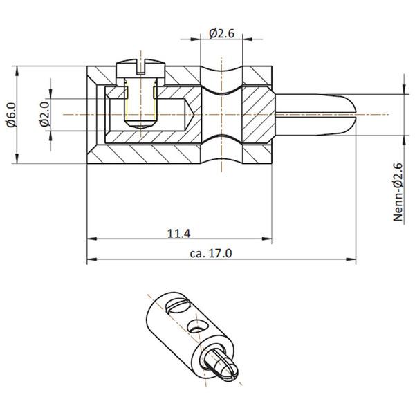 HO-Stecker 2,6 mm, grau