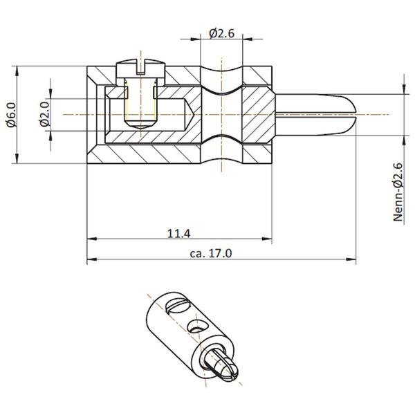 HO-Stecker 2,6 mm, schwarz