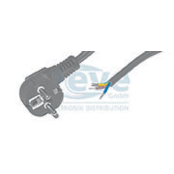 Netzkabel, abgewinkelter Schutzkontakt-Stecker auf 3 lose Kabelenden,  2 m, schwarz