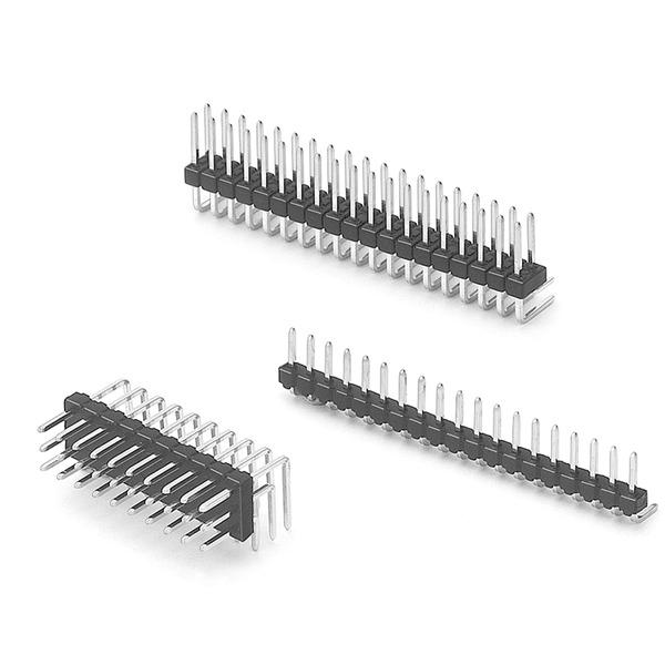 Stiftleiste, 2x 10-polig, abgewinkelt, RM 2.54 mm