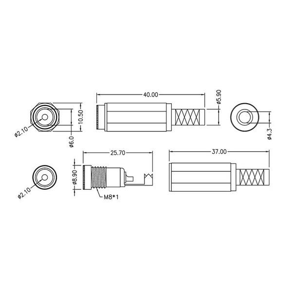 DC-Kupplung 2,1 mm mit Knickschutz