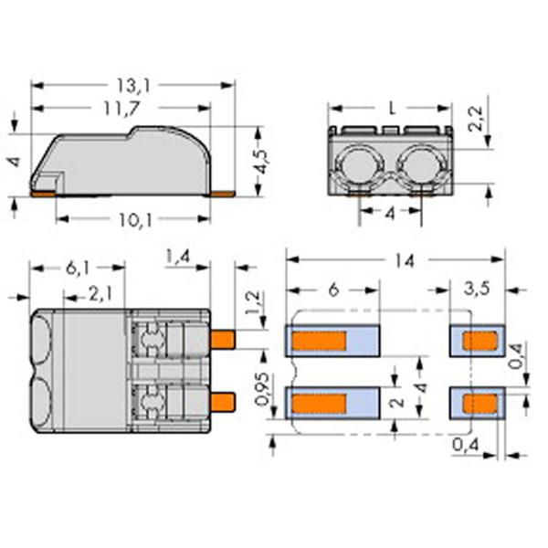 Wago SMD-Leiterplattenklemme, 3-polig, 4 mm 2060-0403