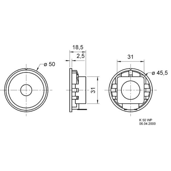 VISATON Breitbandlautsprecher mit Kunststoffkorb und Kunststoffmembran 5 cm, K 50 WP / 8 Ohm