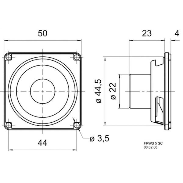 VISATON Magnetisch abgeschirmter Breitbandlautsprecher mit Alnico-Magnet 5 cm, FRWS 5 SC / 8 Ohm