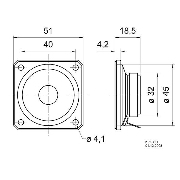 VISATON Kleinlautsprecher mit Kunststoffmembran und quadratischem Metallkorb, K 50 SQ / 8 Ohm