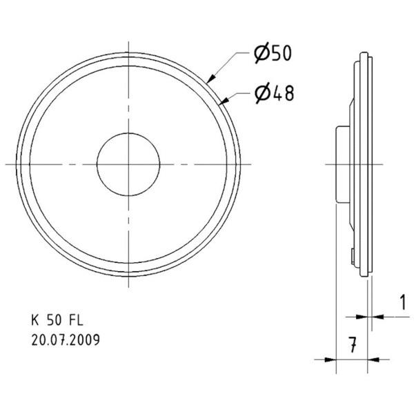VISATON Kleinlautsprecher mit Kunststoffmembran, sehr flache Bauweise 5 cm, K 50 FL / 50 Ohm