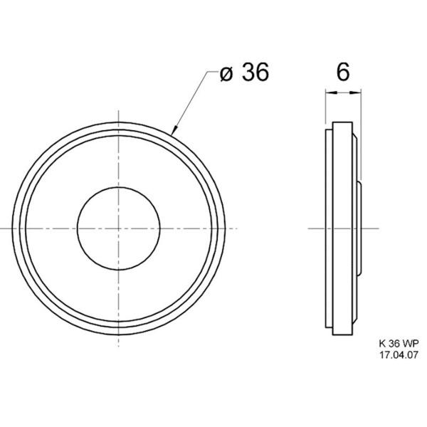VISATON Miniaturlautsprecher mit Kunststoffkorb und Kunststoffmembran 3,6 cm, K 36 WP / 50 Ohm