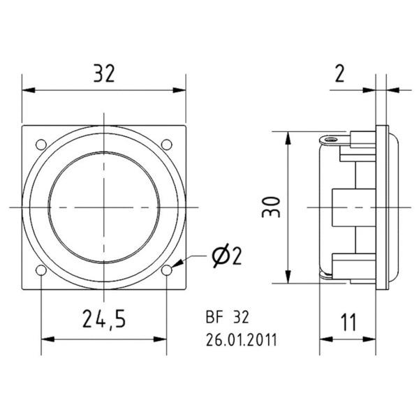 VISATON Kleinlautsprecher mit breitem, ausgewogenem Frequenzgang 3,2 cm, BF 32 / 8 Ohm