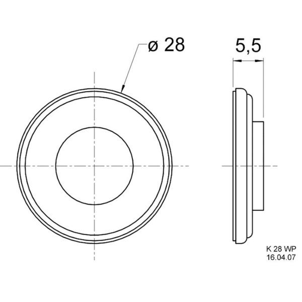 VISATON Miniaturlautsprecher mit Kunststoffmembran (Mylar) 2,8 cm, K 28 WP / 8 Ohm