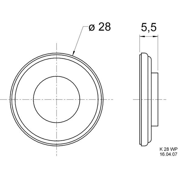 VISATON Miniaturlautsprecher mit Kunststoffmembran (Mylar) 2,8 cm, K 28 WP / 50 Ohm