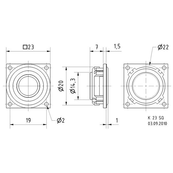 VISATON Kleinlautsprecher mit Kunststoffmembran und quadratischem Kunststoffkorb, K 23 SQ/8 Ohm
