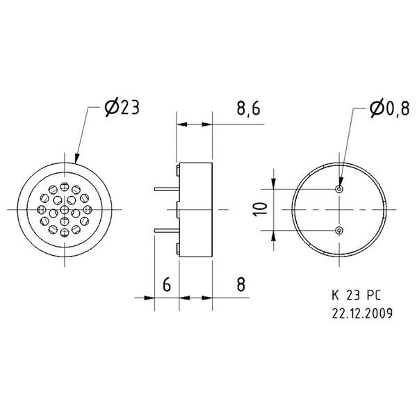 VISATON Kleinlautsprecher zur Montage auf Leiterplatten 2,3 cm, K 23 PC / 8 Ohm