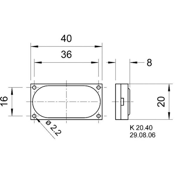 VISATON Rechteckiger Miniaturlautsprecher, K 20.40 / 8 Ohm