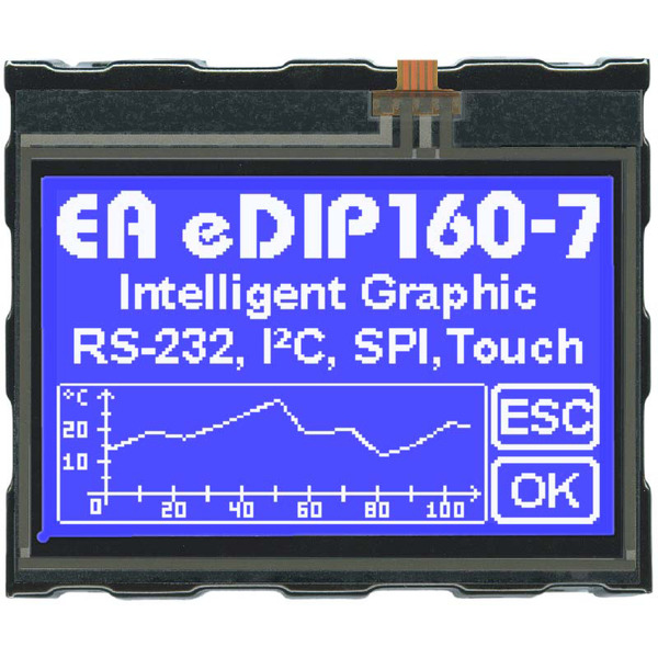 Electronic Assembly LCD-Bedieneinheit mit Touch EA eDIP160B-7LWTP 160x104 Pixel