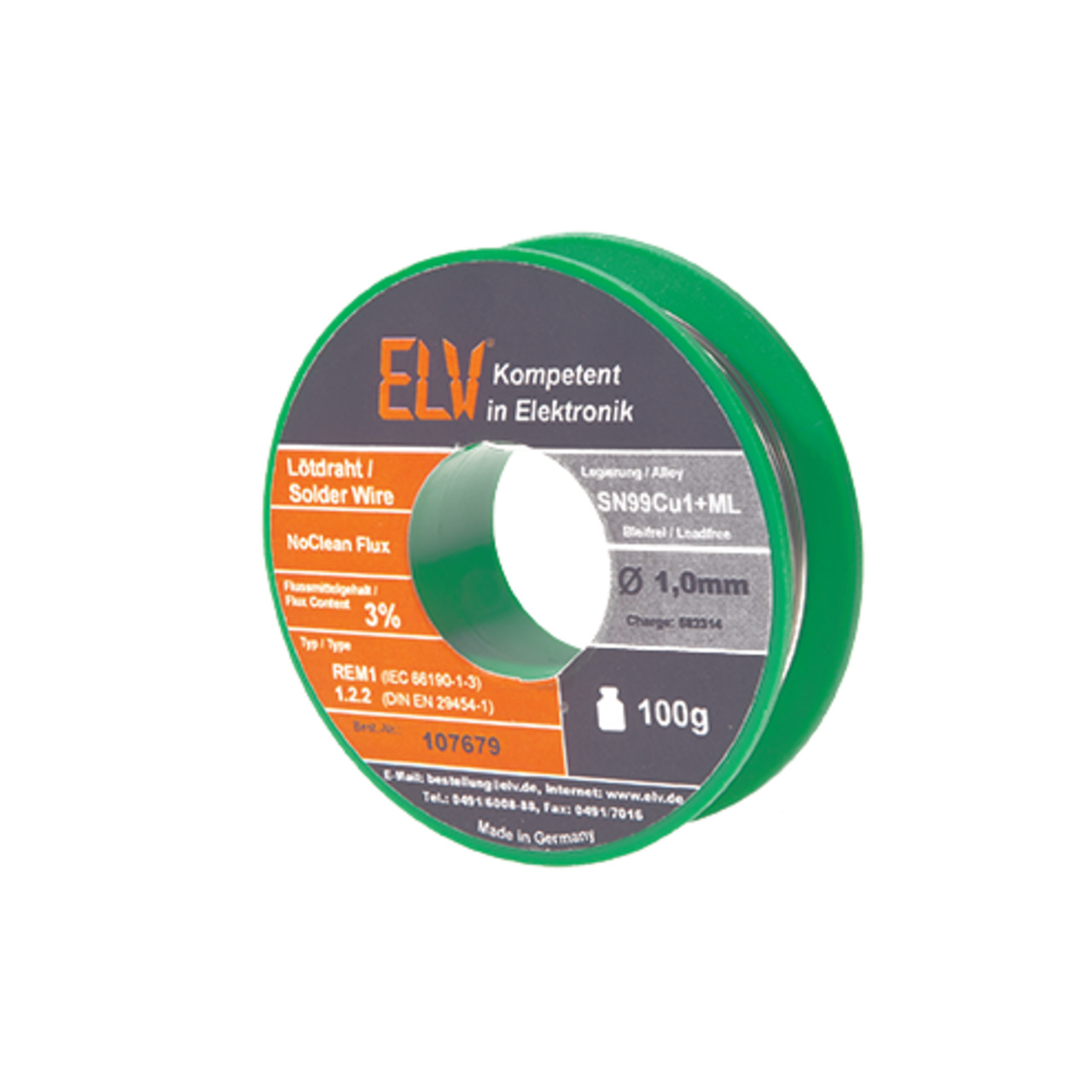 ELV No-Clean Lötzinn bleifrei Sn99Cu1+ML- 1-0 mm- 100 g