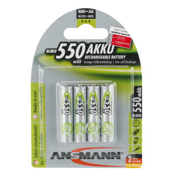 Ansmann maxE 1,2 V NiMH Akku Micro 550 mAh, 4er Pack