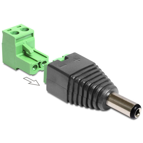 Delock Adapter Terminalblock > DC 2,1 x 5,5 mm Stecker 2-teilig