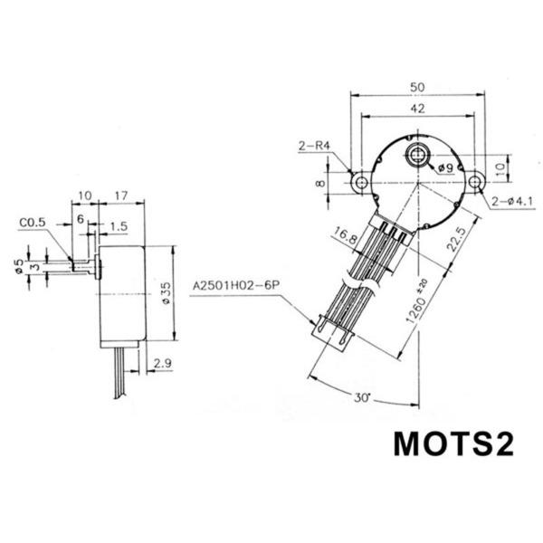 Schrittmotor 12 V DC 60 mA (Winkel 7,5° / 48 Schritte)