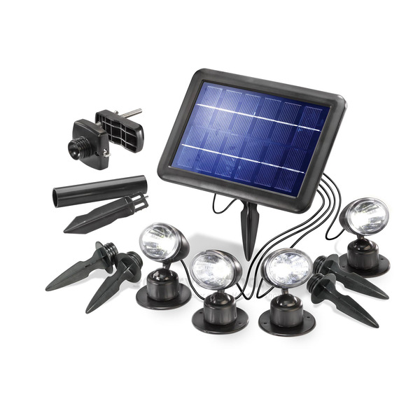 esotec Solar-LED-Beleuchtungs-Set Solarspot Quattro Power, IP44