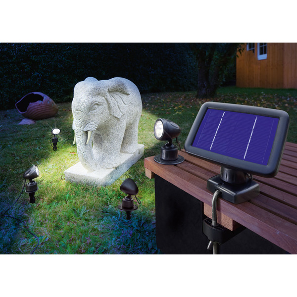 esotec Solar-LED-Beleuchtungs-Set Solarspot Quattro Power, IP44