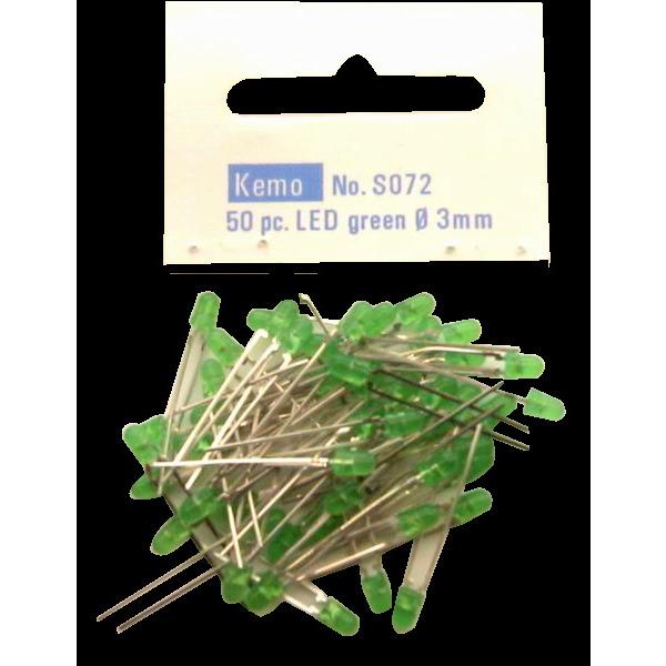 Kemo LED Ø 3 mm grün ca. 50 Stück S072