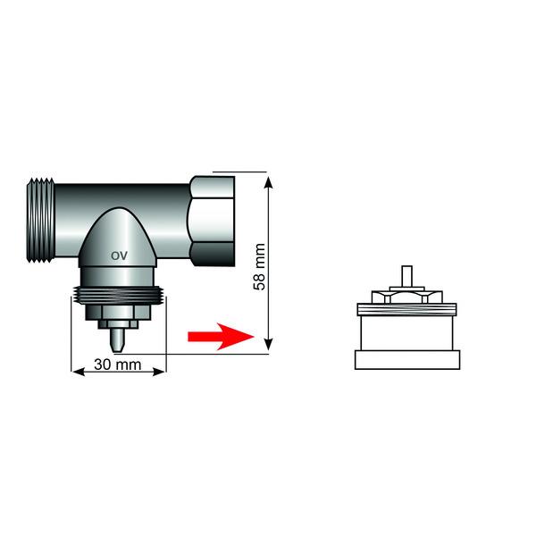 Heizungsventiladapter für Oventrop M30 x 1,0 (Messing)