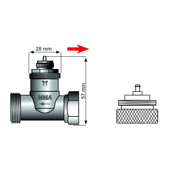 Heizungsventiladapter für Markaryd M28 x 1,5 (Messing)