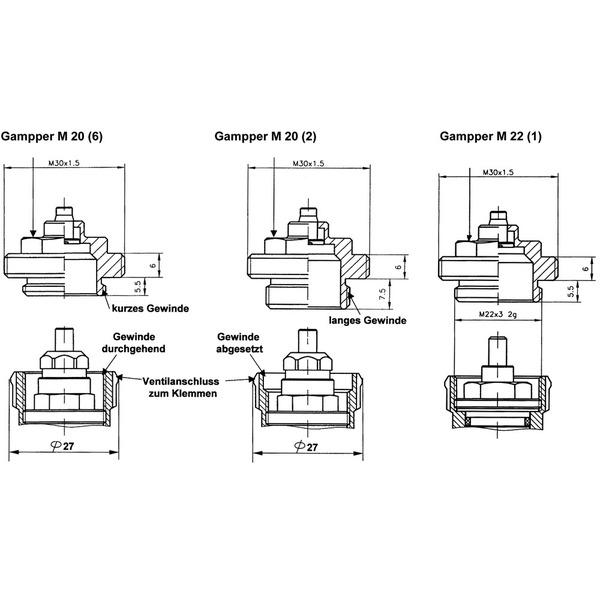Heizungsventiladapter für Gampper M20 (über 10 mm Tiefe) (Messing)