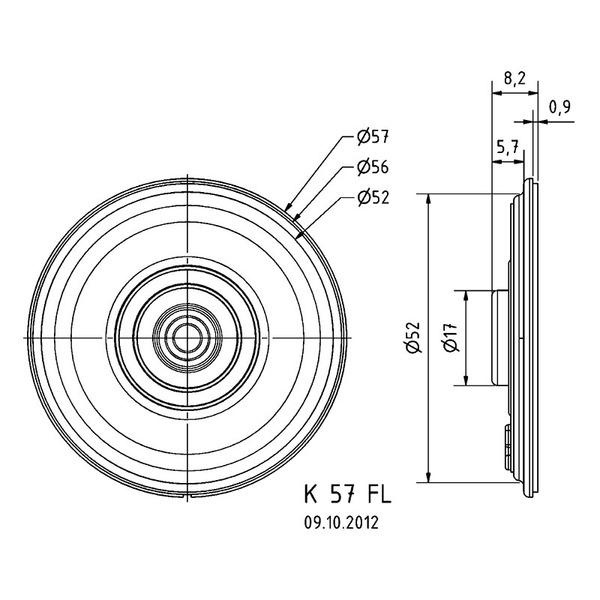 VISATON Kleinlautsprecher mit Kunststoffmembran, flache Bauweise, Ø 5,7 cm, K 57 FL / 8 Ohm