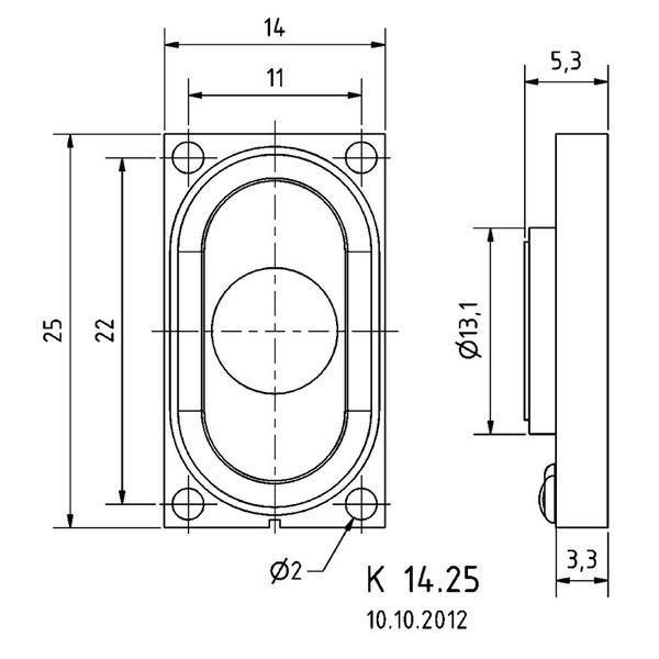 VISATON Kleinlautsprecher mit Kunststoffmembran, geringe Baugröße, 1,4 x 2,5 cm, K 14.25 / 8 Ω