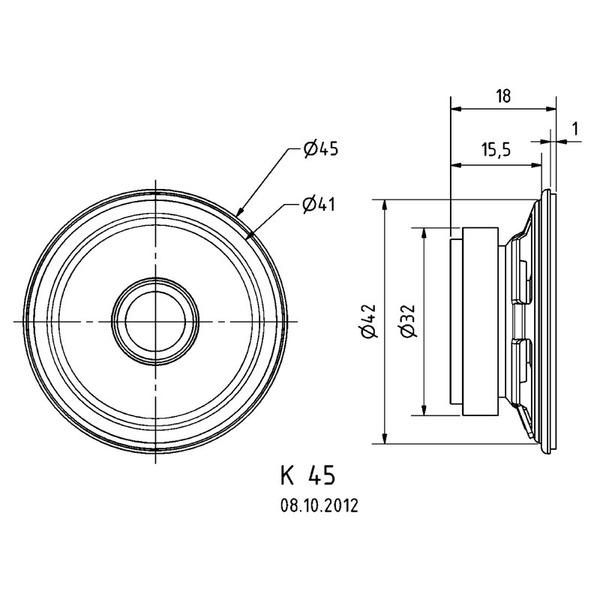 VISATON Kleinlautsprecher mit Kunststoffmembran (Mylar), geringe Baugröße, Ø 4,5 cm, K 45 / 8 Ohm