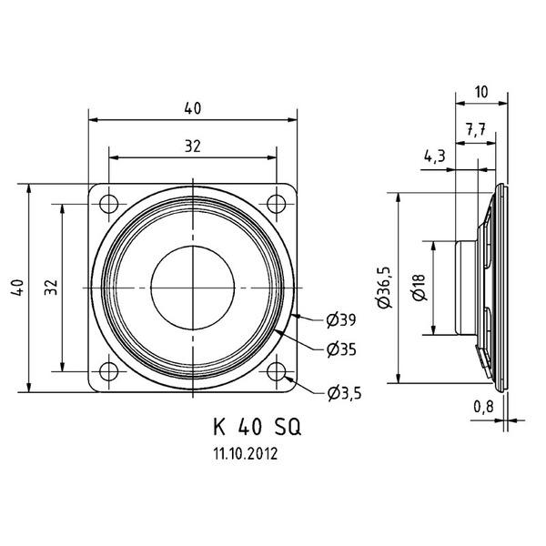 VISATON Kleinlautsprecher mit Kunststoffmembran, geringe Baugröße, Ø 4,0 cm, K 40 SQ / 8 Ohm